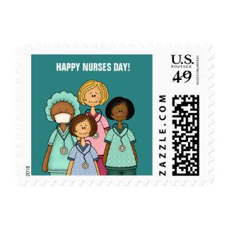 Sellos felices del día de las enfermeras