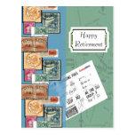 Sellos felices del retiro del mundo tarjetas postales
