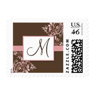 Sellos florales de Brown y del boda del monograma