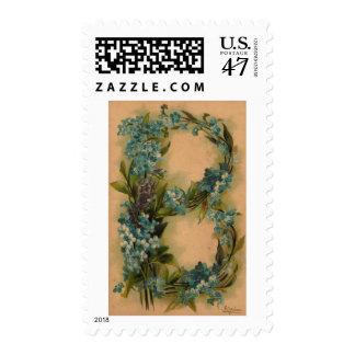 Sellos florales de la letra B del vintage inicial