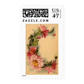 Sellos florales de la letra C del vintage inicial