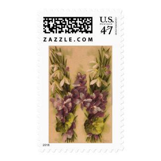 Sellos florales de la letra W del monograma