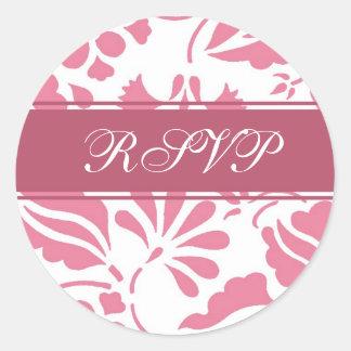 Sellos florales del rosa y blancos de RSVP del Pegatina Redonda