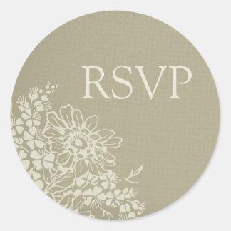 Sellos florales del sobre de RSVP del vintage que Pegatina Redonda