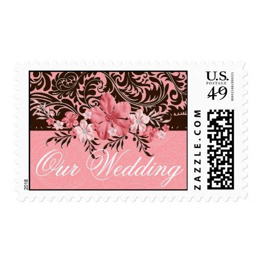 Sellos florales rosados elegantes del damasco