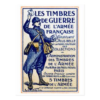 Sellos franceses de la guerra de WWI Tarjetas Postales