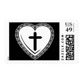 Sellos góticos del corazón y de la cruz (blanco