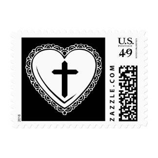 Sellos góticos del corazón y de la cruz (blanco ne