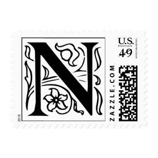 Sellos iniciales de lujo de la letra N