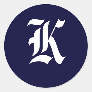 """Sellos """"K """" de la inicial del monograma de los Pegatina Redonda"""