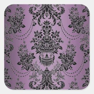 Sellos negros púrpuras del sobre del boda del pegatina cuadrada