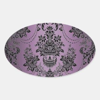 Sellos negros púrpuras del sobre del boda del pegatina ovalada