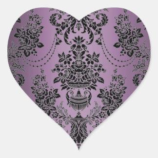 Sellos negros púrpuras del sobre del boda del pegatina en forma de corazón