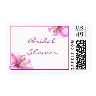 Sellos nupciales de la ducha del hibisco rosado