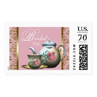 Sellos nupciales elegantes del rosa y del té del