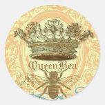 Sellos o pegatinas redondos de la abeja reina etiqueta redonda