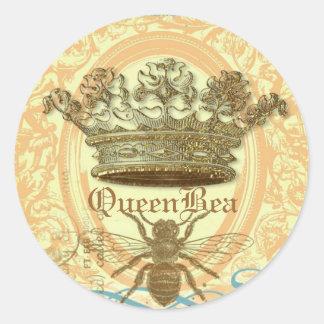 Sellos o pegatinas redondos de la abeja reina pegatina redonda