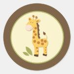 Sellos o primeros adorables del sobre de la jirafa pegatina redonda