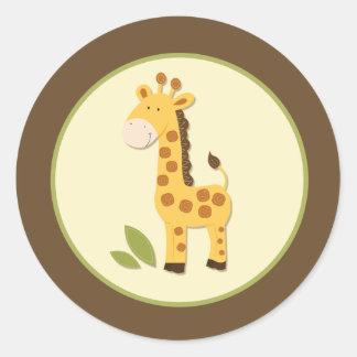 Sellos o primeros adorables del sobre de la jirafa etiqueta redonda