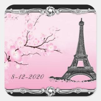 Sellos parisienses de la invitación del boda de la pegatina cuadrada