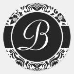 Sellos personales cones monograma blancos y negros pegatina redonda