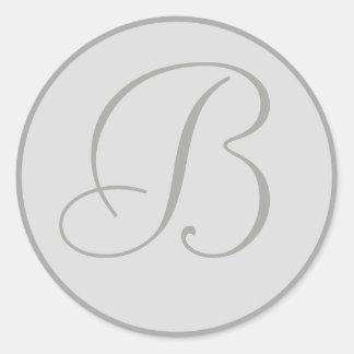 Sellos personales cones monograma grises claros etiqueta redonda