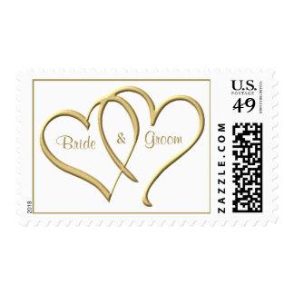 Sellos personalizados de los corazones del oro