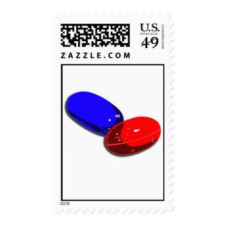 sellos píldora-rojos azules de la píldora