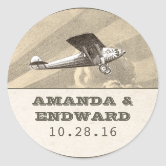sellos planos de los pegatinas del boda del pegatina redonda
