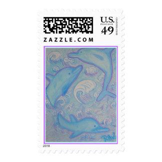 Sellos postales de Estados Unidos - delfínes felic