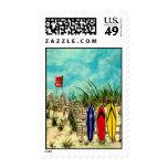sellos postales de la persona que practica surf co