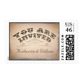 sellos postales de la tipografía hermosa del vinta