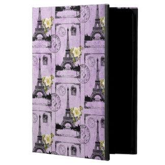 Sellos púrpuras de la postal de la torre Eiffel