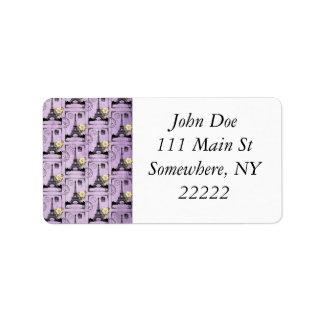Sellos púrpuras de la postal de la torre Eiffel Etiqueta De Dirección