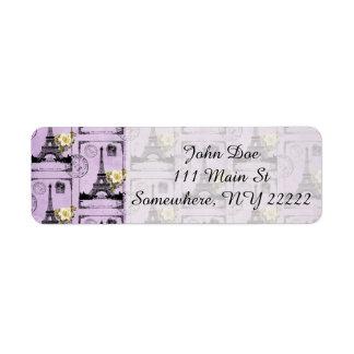 Sellos púrpuras de la postal de la torre Eiffel Etiqueta De Remite