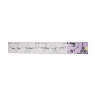Sellos púrpuras de la postal de la torre Eiffel Etiquetas Envolventes De Dirección