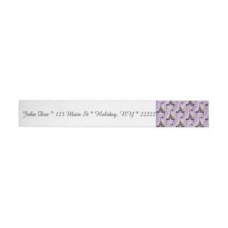 Sellos púrpuras de la postal de la torre Eiffel Etiquetas Postales