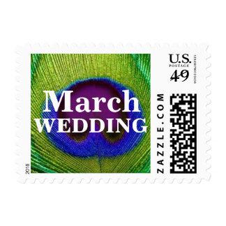 Sellos púrpuras verdes del boda de marzo de la