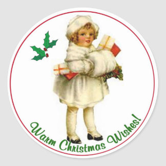 Sellos redondos #3 del navidad del vintage etiquetas redondas
