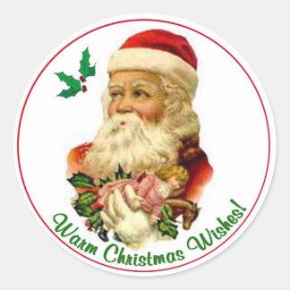 Sellos redondos 6 del navidad de Santa del vintage Pegatina Redonda