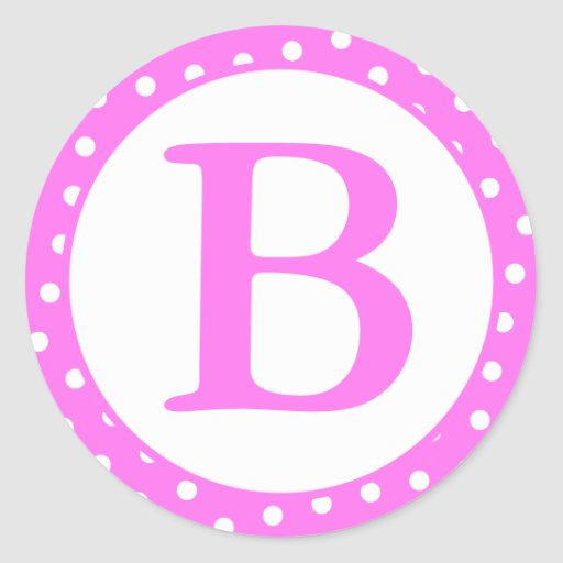 Sellos redondos con el monograma - puntos rosados pegatina redonda