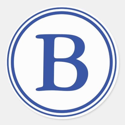 Sellos redondos del sobre con el monograma - azul pegatina redonda