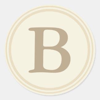Sellos redondos del sobre con el monograma - crema etiqueta redonda