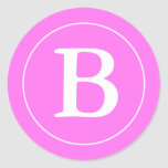 Sellos redondos del sobre con el monograma - rosa pegatina redonda