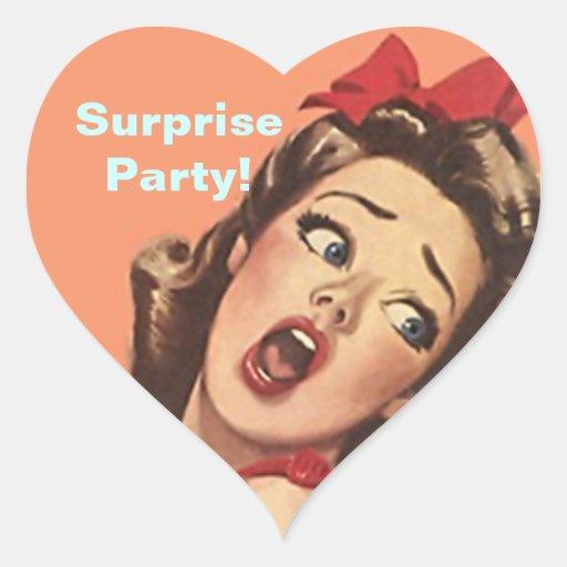 Sellos retros bonitos del fiesta de sorpresa de pegatina en forma de corazón