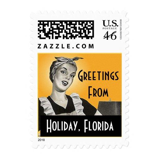 Sellos retros de la Florida del día de fiesta del