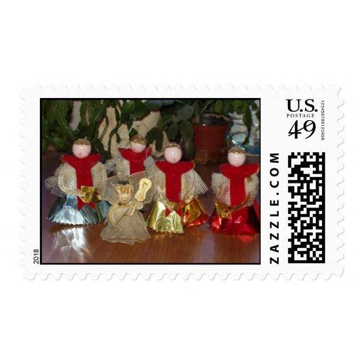 Sellos retros del ornamento del ángel del navidad