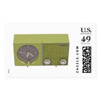 Sellos retros del radio-reloj de los años 60