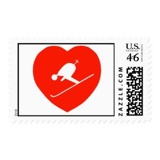 Sellos rojos de esquí del corazón del amor