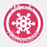 Sellos rojos de Hawaii del copo de nieve de Mele Etiquetas Redondas